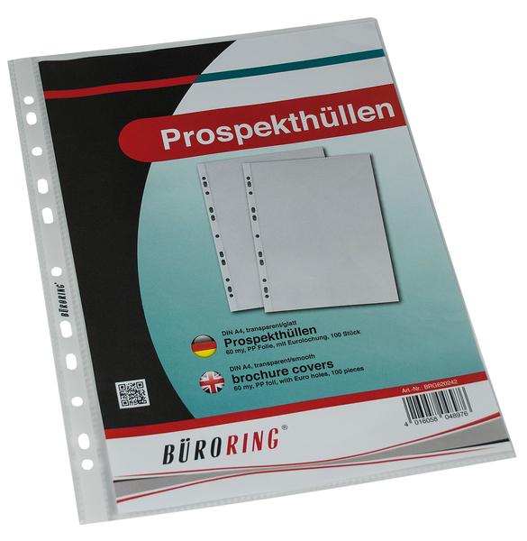 Büroring Prospekthülle A4 PP-Folie 60my glatt, glasklar,VE = 1 Packung = 100 Hüllen