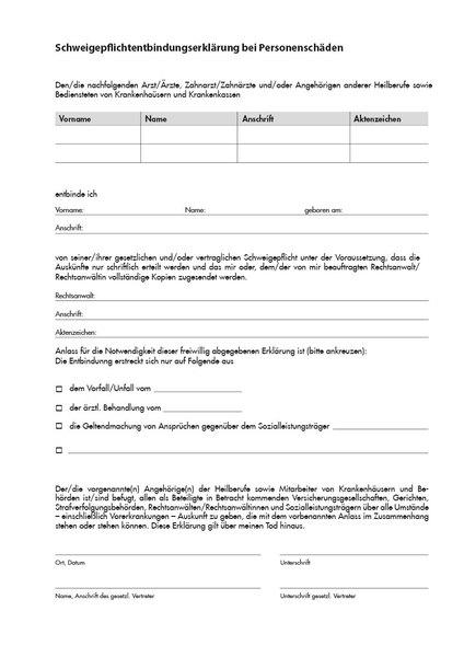 Entbindung Schweigepflicht, A4, 1-seitig bedruckt, 100 Blatt je Pack