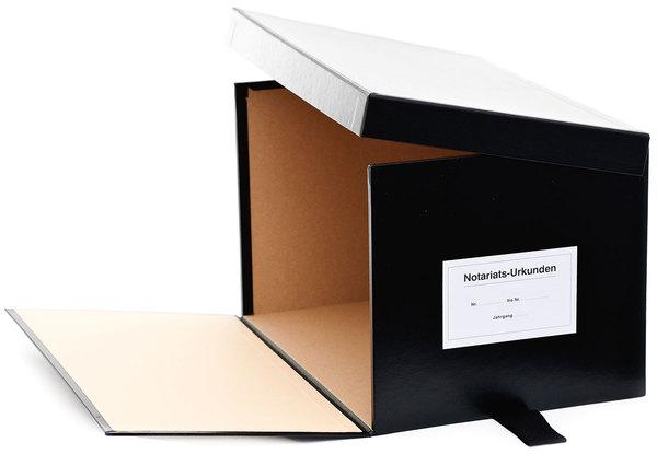 Urkundenkasten Variante D schwarz, seilt. aufklappbarer Deckel,