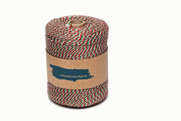 Urkunden-Heftgarn grün/weiß/rot Rolle ca. 360m