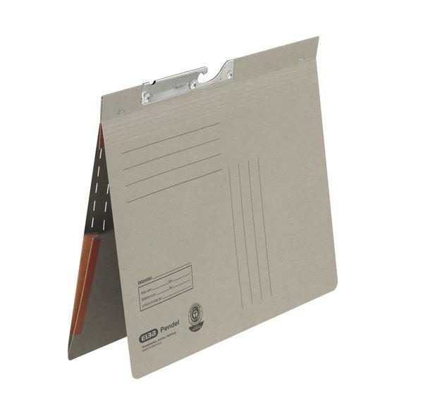 Pendelhefter A4, kfm. Heftung, Dehn- tasche, grau, 320 g/qmVE = 50 Stück
