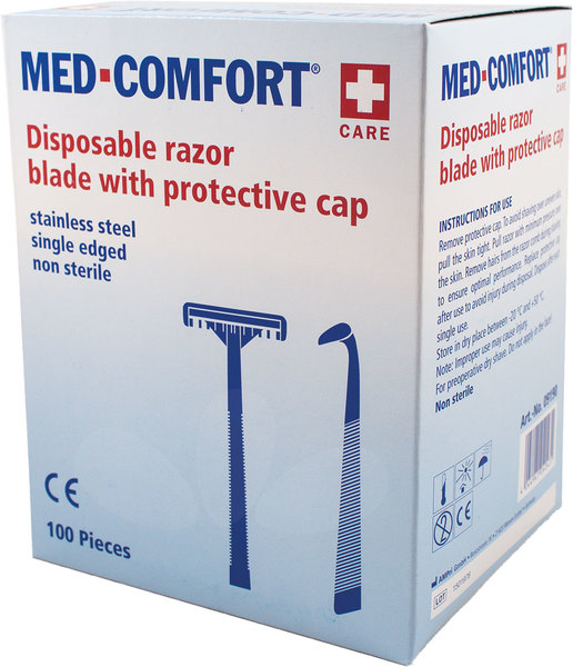 Einmalrasierer MED Comfort einschneidig, blauVE = Pack = 100 Stück