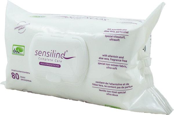 Feuchtpflegetücher Sensilind, 80 ge- brauchsfertige Tücher, wieder ver-