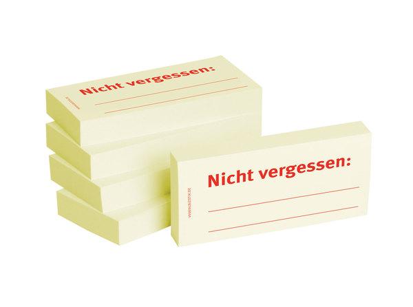 Haftnotizen 75 x 35 mm, gelb Nicht vergessenVE = 1 Packung = 5 Blöcke