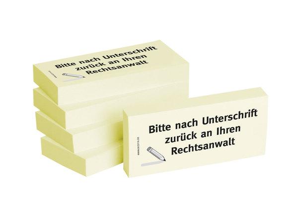 Haftnotizen 75 x 35 mm, gelb Bitte nach Unterschrift zurück anVE = 1 Packung = 5 Blöcke