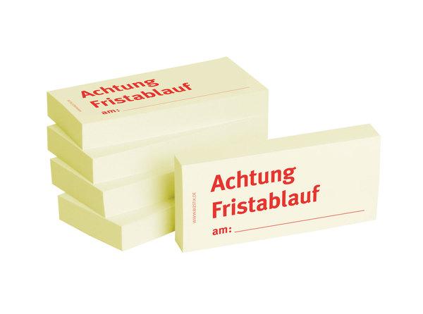 Haftnotizen 75 x 35 mm, gelb Achtung Fristablauf amVE = 1 Packung = 5 Blöcke