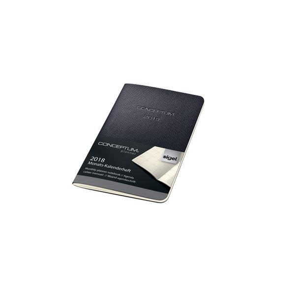 Kalenderheft Conceptum 1M/2S, 2019 93x140x5mm, schwarz