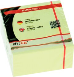 Büroring Haftnotiz Würfel FSC 75x75mm pastellgelb, 450 Blatt