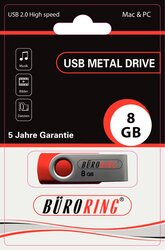 Speicherstick, USB 2.0 mit drehbarer Metall-Abdeckung, Kapazität: 8 GB