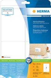 PREMIUM Adressetiketten 99,1 x 139 mm, 400 Etiketten, weiß, matt, permanent haftend, Blattformat: DIN A4, Packung à 100 Blatt