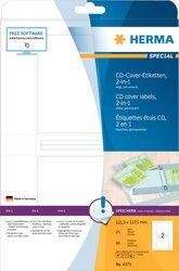 CD-, DVD- Hüllen-Etiketten, 121,5 x 117,5 mm, 50 Etiketten, aus Papier, weiß, permanent haftend, 2 in 1: zum Aufkleben oder Einschieben, Packung à 25 Blatt