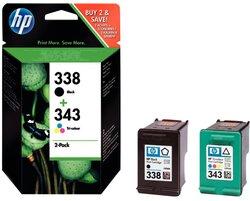 Multipack Tintenpatrone Nr.338/343 schwarz/farbig für Deskjet 460C1 VE = 2 Tintenpatronen