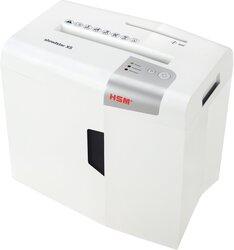 Aktenvernichter HSM shredstar X5, 4,5x30 mm Partikel, 5 Blatt, Sicherheitsstufe 4, Maße: 345x385x245 mm, Farbe: weiß/silber, Auffangbehälter 18 Liter, Papier, Heft- und Büroklammern, CD´s, Kreditkarten, Eingabebreite 220 mm, Sicherheitsstufe: P-4/O-1/T-2/E-2/F-1, Gewicht: 4 kg