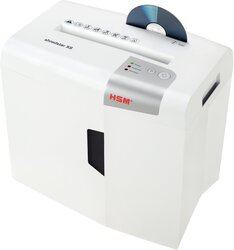Aktenvernichter HSM shredstar X8, 4,5x30 mm Partikel, 8 Blatt, Sicherheitsstufe 4, Maße: 345x385x245 mm, Farbe: weiß/silber, Auffangbehälter 18 Liter, Papier, Heft- und Büroklammern, CD´s, Kreditkarten, Eingabebreite 220 mm, Sicherheitsstufe: P-4/O-1/T-2/E-2/F-1, Gewicht: 6 kg
