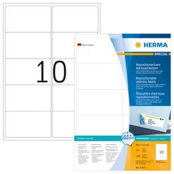 Ablösbare Etiketten 99,1 x 57 mm, 1.000 Etiketten, weiß, matt, haftend, Packung à 100 Blatt