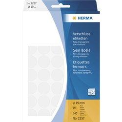 Verschlussetiketten Ø 19 mm, 640 Etiketten, transparente Folie, extrem stark haftend, 40 Stück/Blatt, Packung à 16 Blatt