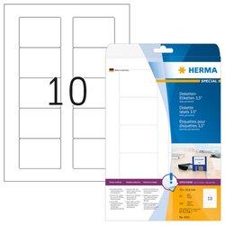 ZIP-Disk-Etiketten 70 x 50,8 mm, 250 Etiketten, weiß, permanent haftend, für Laser-, Farblaser-, Inkjetdrucker, Kopierer, Packung à 25 Blatt