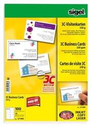 Visitenkarte 3C I+L+K 250g weiß glatter Schnitt rundum 85 x 55 mmVE = 10 Blatt = 100 Karten