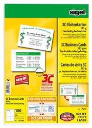Visitenkarten 85x55mm, 225g, 3C, hochweiß Edelkarton, (I/L/K)VE = 1 Packung = 10 Bl. = 100 St.