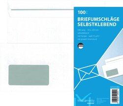Briefumschlag DL, mit Fenster, SK, 75 g/qm, weißVE = 1 Packung = 100 Stück