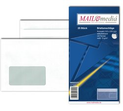 Briefumschlag kompakt, mit Fenster, SK, 75 g/qm, weißVE = 1 Packung = 25 Stück