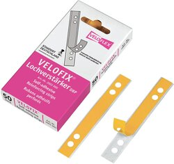 Velofix Lochverstärker selbstklebend, transparent, Hartfolie, 15 x 105 mm, Packung á 50 Stück