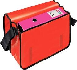 Umhängetasche für Briefordner, rot Überschlag mit Klettverschluss