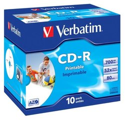 Rohling CD-R 80 Min. 700MB,52-fach Inkjet printable in Jewel Case1 VE = 1 Pack á 10 Stück