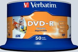 Rohling DVD-R, 4,7 GB/120 Min. 16-fach, inkjet bedruckbar1 VE = 50er Spindel