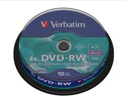 DVD Rohling -RW, 4,7 GB 4-fach, 10er Spindel1 VE = 1 Spindel á 10 Stück
