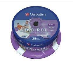 Rohling DVD+R Double Layer 8,5 GB, 8fach, Inkjet Printable,25er Spindel1 VE = 1 Spindel á 25 Stück