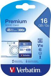 SDHC Speicherkarte, 16 GB, Premium Class 10, U1, UHS-I 45MB/s, 300x