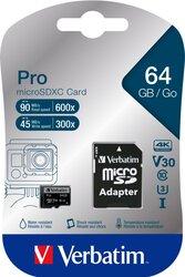 microSDHC Speicherkarte, 64 GB, PRO Class 10, U3, UHS-I, 45MB/s 300x
