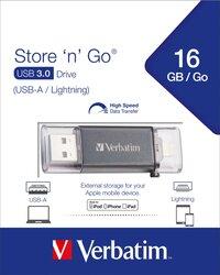Speicherstick USB 3.0, 16 GB Dual Lightning, Metallgehäuse, schwarz