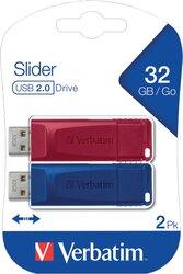 Speicherstick USB 2.0, 32 GB, Store'n'Go Slider, Multipack, Farben: rot, blau