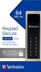 Speicherstick USB 3.0, 64 GB Keypad Secure, schwarz, AES 256-Bit,