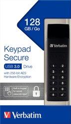 Speicherstick USB 3.0, 128 GB Keypad Secure, schwarz, AES 256-Bit,
