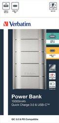 Powerbank Metall Design, silber, Quick Charge 3.0, 10000 mAh, 2 x USB-A/-C, wiederaufladbar, Schnellladefunktion, Maße: 100 x 55,5 x 29 mm