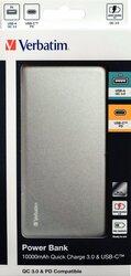 Powerbank Slim Design, silber, Quick Charge 3.0, 10000 mAh, 2 x USB-A/Micro-B/-C, wiederaufladbar, Schnellladefunktion, Maße: 135,5 x 70 x 13,5 mm