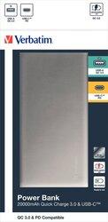 Powerbank Slim Design, silber, Quick Charge 3.0, 20000 mAh, 2 x USB-A/Micro-B/-C, wiederaufladbar, Schnellladefunktion, Maße: 135,5 x 70 x 24,5 mm