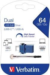 Speicherstick, USB 3.0, 64 GB, Dual, Typ-A und Typ-C Anschluss