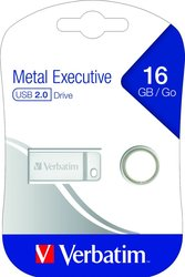 Speicherstick USB 2.0, 16 GB, Metal Executive, silber, 2.5MB/s 17x
