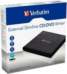 Externer Slimline CD/DVD-Brenner, USB 2.0, ideal geeigent für Notebook oder Ultrabook, schwarz