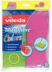 Vileda Mikrofaser Bodentuch, Colors, 2 Stück, Farben pink und grünVE = 1 Packung = 2 Stück