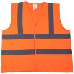 Pannen-Warnweste, Polyester, neonorange, mit 2 reflektierenden Streifen, mit Klettverschluss, EN ISO 20471, Klasse 2