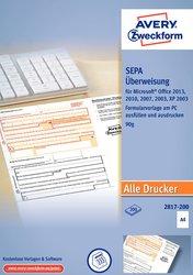 SEPA-Überweisung, DIN A4, für PC, Ink/Laser-fähig.
