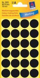 Avery Zweckform Markierungspunkte, Ø 18mm, schwarz, 96 Etiketten, Packung à 4 Blatt