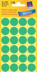 Markierungspunkte, grün, 18 mm, permanent, 4 Blatt = 96 Etiketten/Punkte.