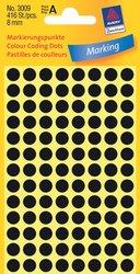 Markierungspunkte, schwarz, 8 mm, permanent, 4 Blatt = 416 Etiketten/Punkte.