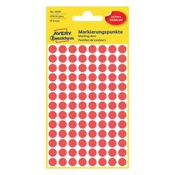 Markierungspunkte, rot, 8 mm, permanent, 4 Blatt = 416 Etiketten/Punkte.